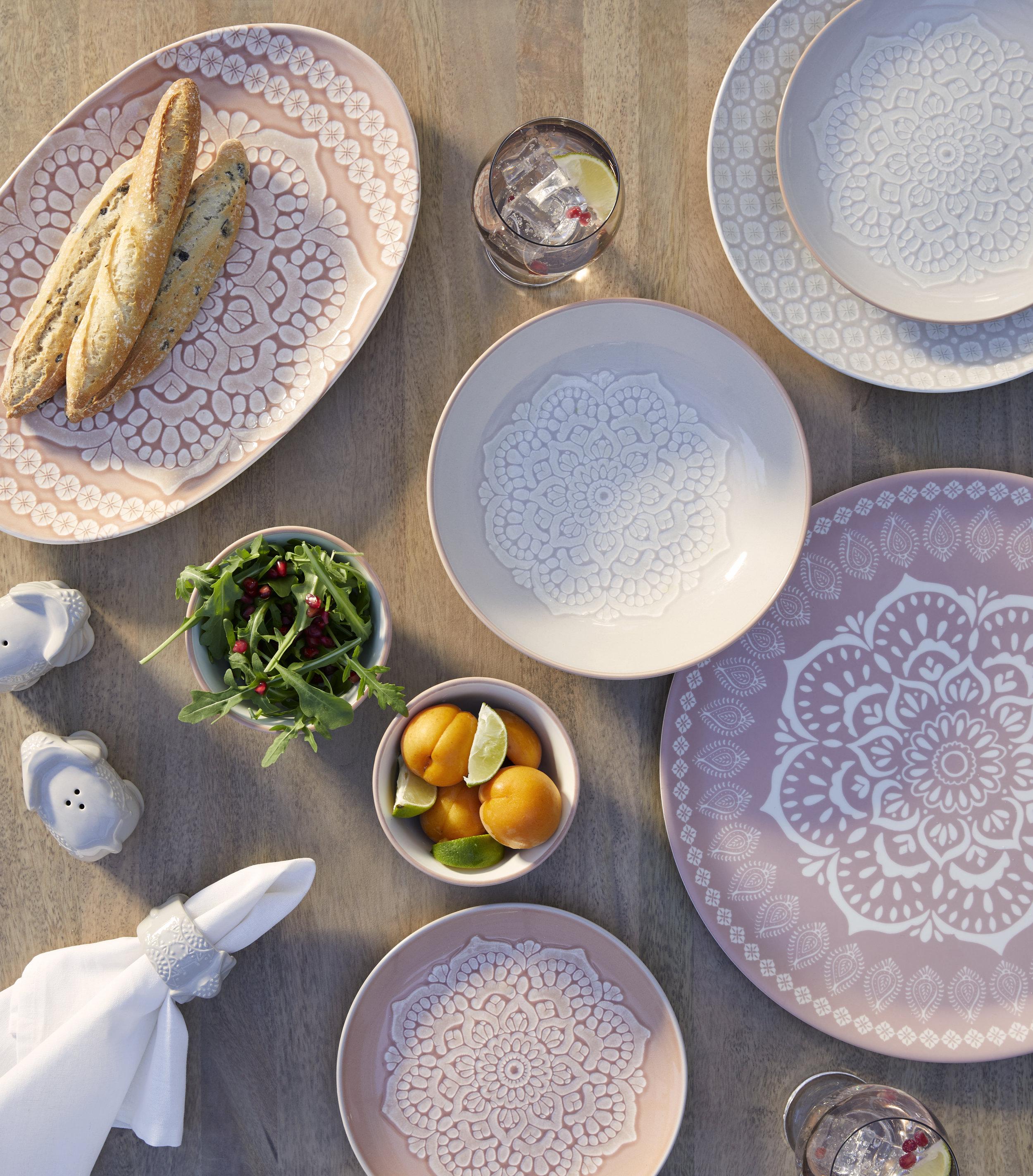 Cinnabar platter, £8 Pasta bowl, £6 Dinner plate, £4.50 Side plate, £3.50 Dip bowls, £3 each Elephant salt and pepper shakers, £6 Elephant napkin rings (set of 2), £8.  Photo: Dunelm.