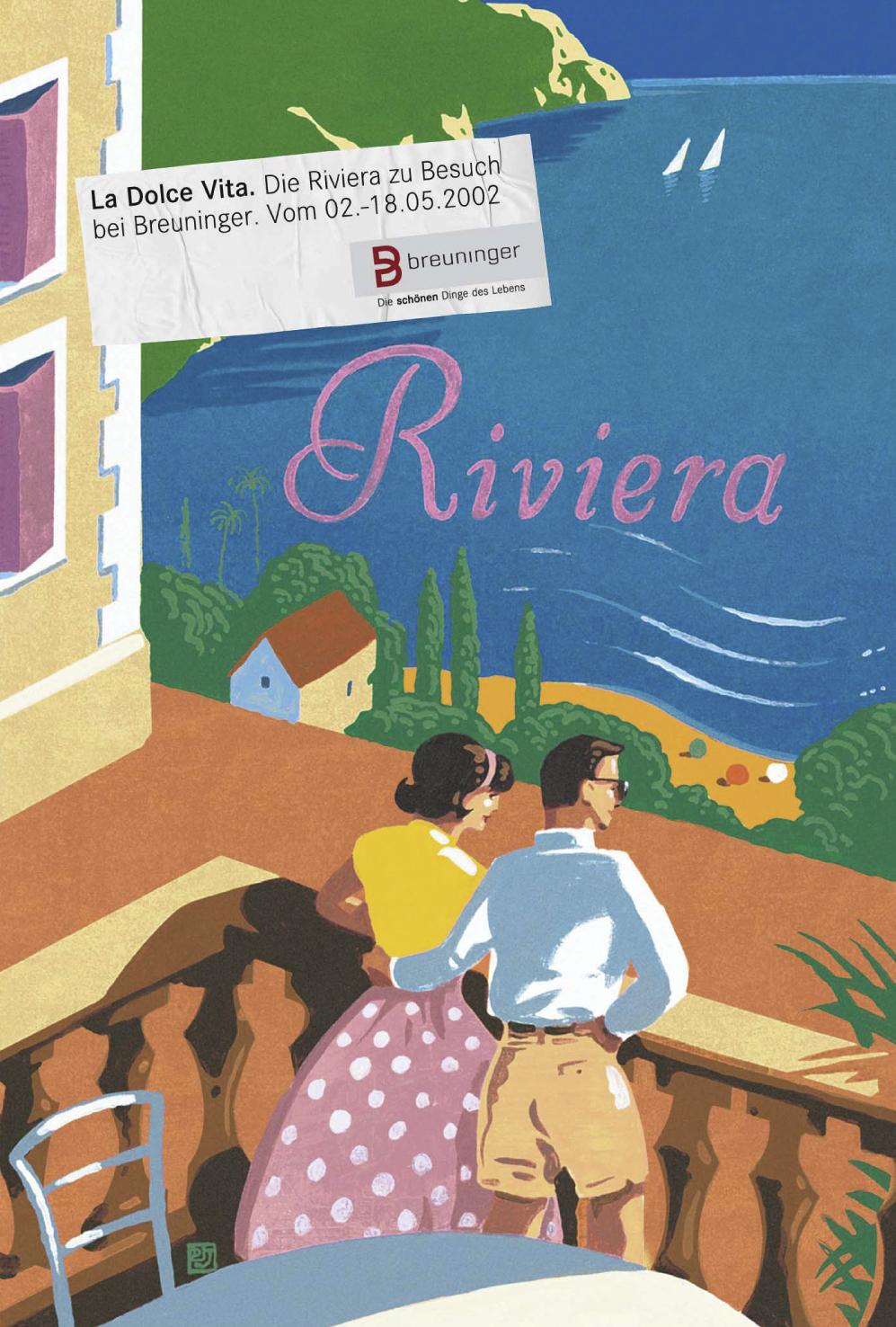 Breuninger Plakat 3: La Dolce Vita - Die Riviera zu Besuch bei Breuninger. Vom 02.-18.05.2002