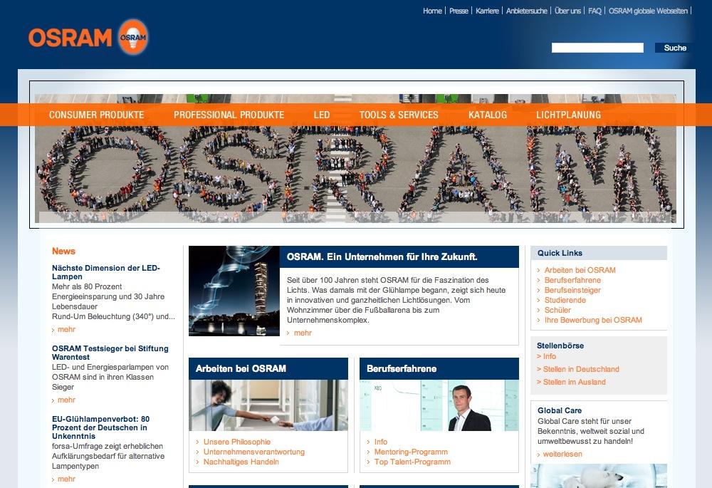 Website Osram - Karriereseiten 1