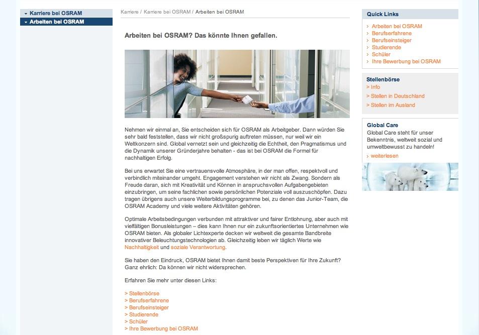 Website Osram - Karriereseiten 3