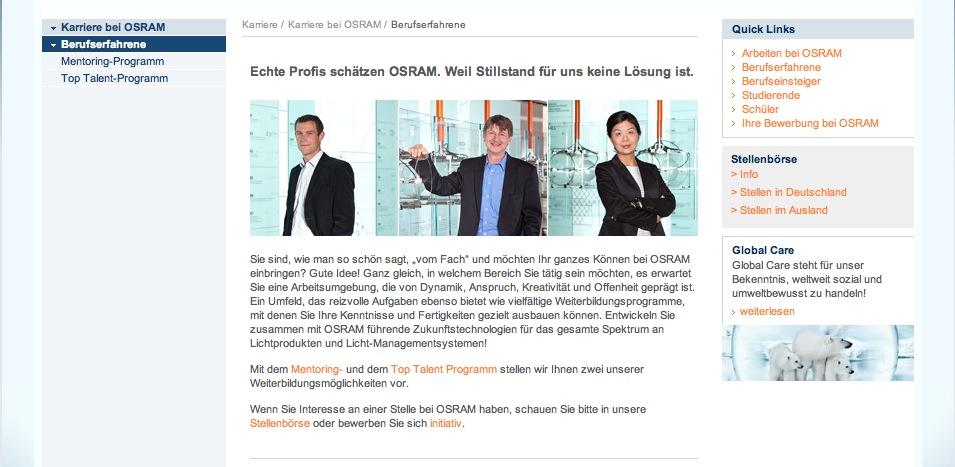 Website Osram - Karriereseiten 4