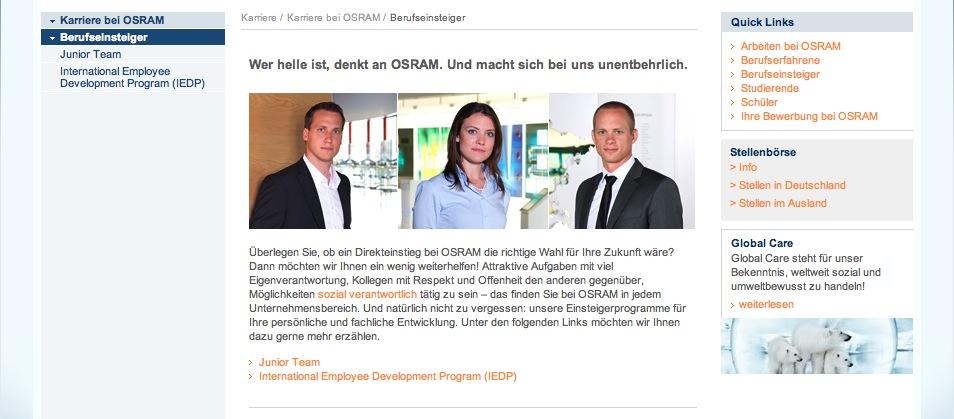 Website Osram - Karriereseiten 7