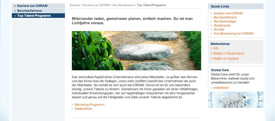 Website Osram - Karriereseiten 6