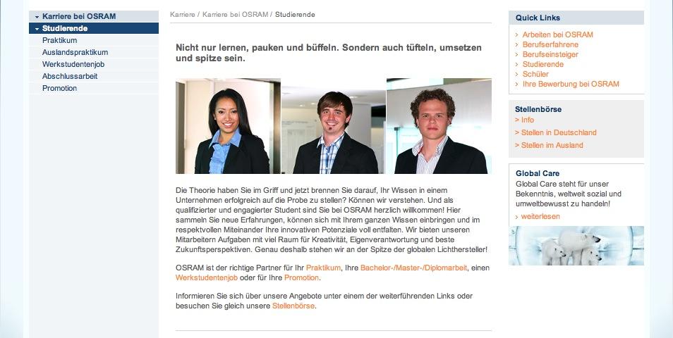 Website Osram - Karriereseiten 9
