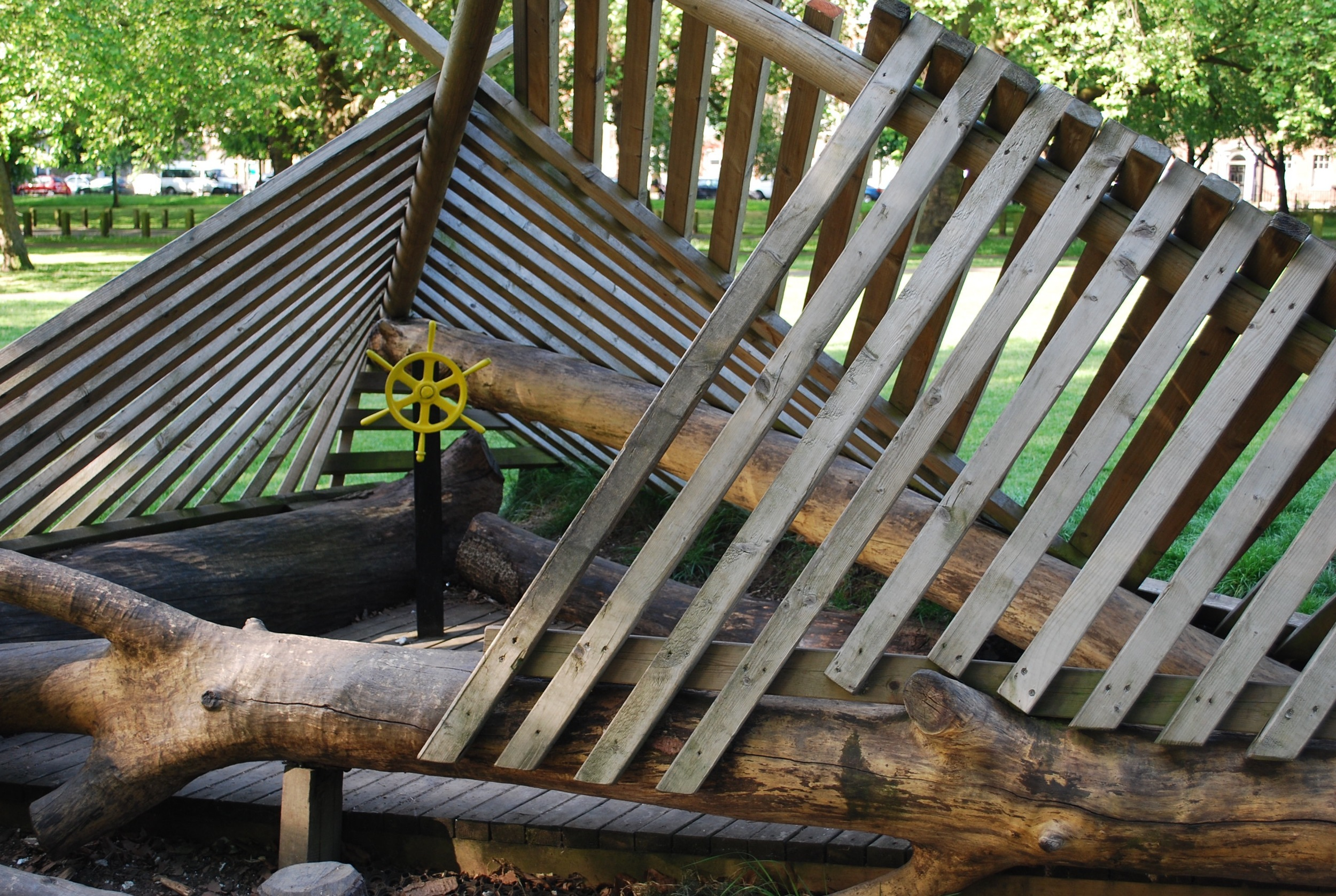 Found objects and salvaged tree forts at Clapton Common