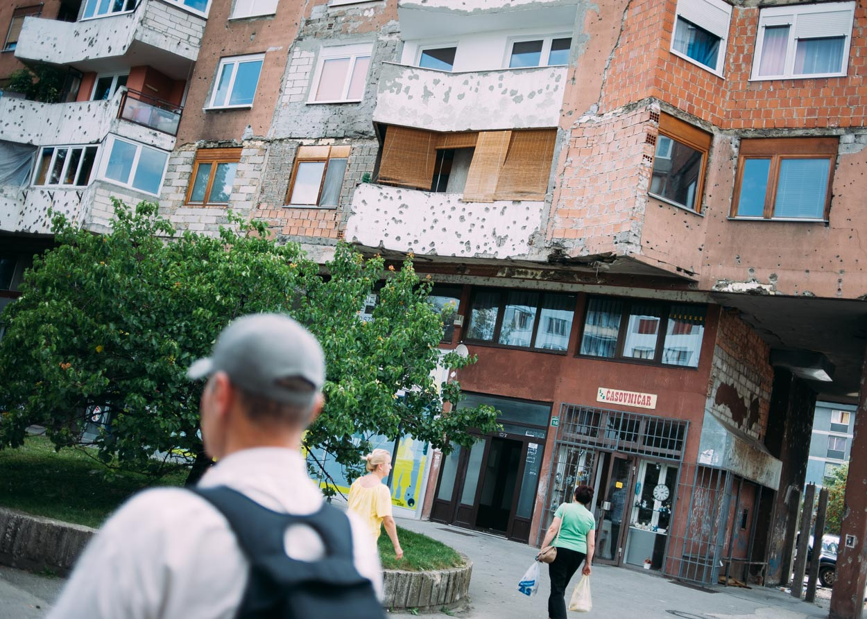 Although many Sarajevans are eager to move out from under the shadows that the conflict cast on their city, the scars left by the war are visible throughout the city.