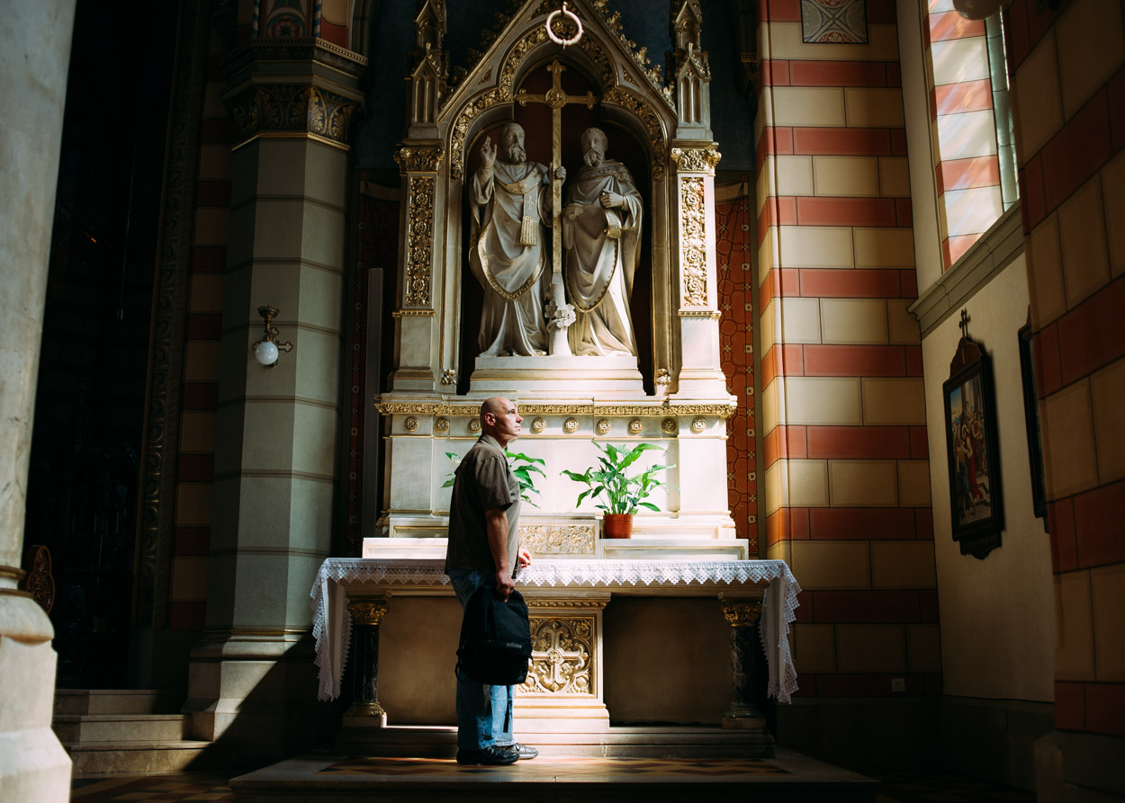 Although not a devoutly religious man, Andrej would occasionally visit one of the cathedrals because of the peace that it brought him.