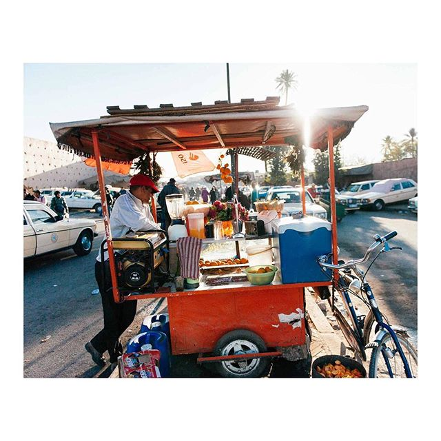 Orange juicer on the streets of Marrakech, years ago.  #travel #marrakech #morroco