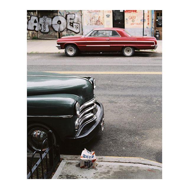 Muggy days in Brooklyn, NYC. June, 2019.  #pabstblueribbon #musclecars #streetphotography #filmphotography #mediumformat #contax