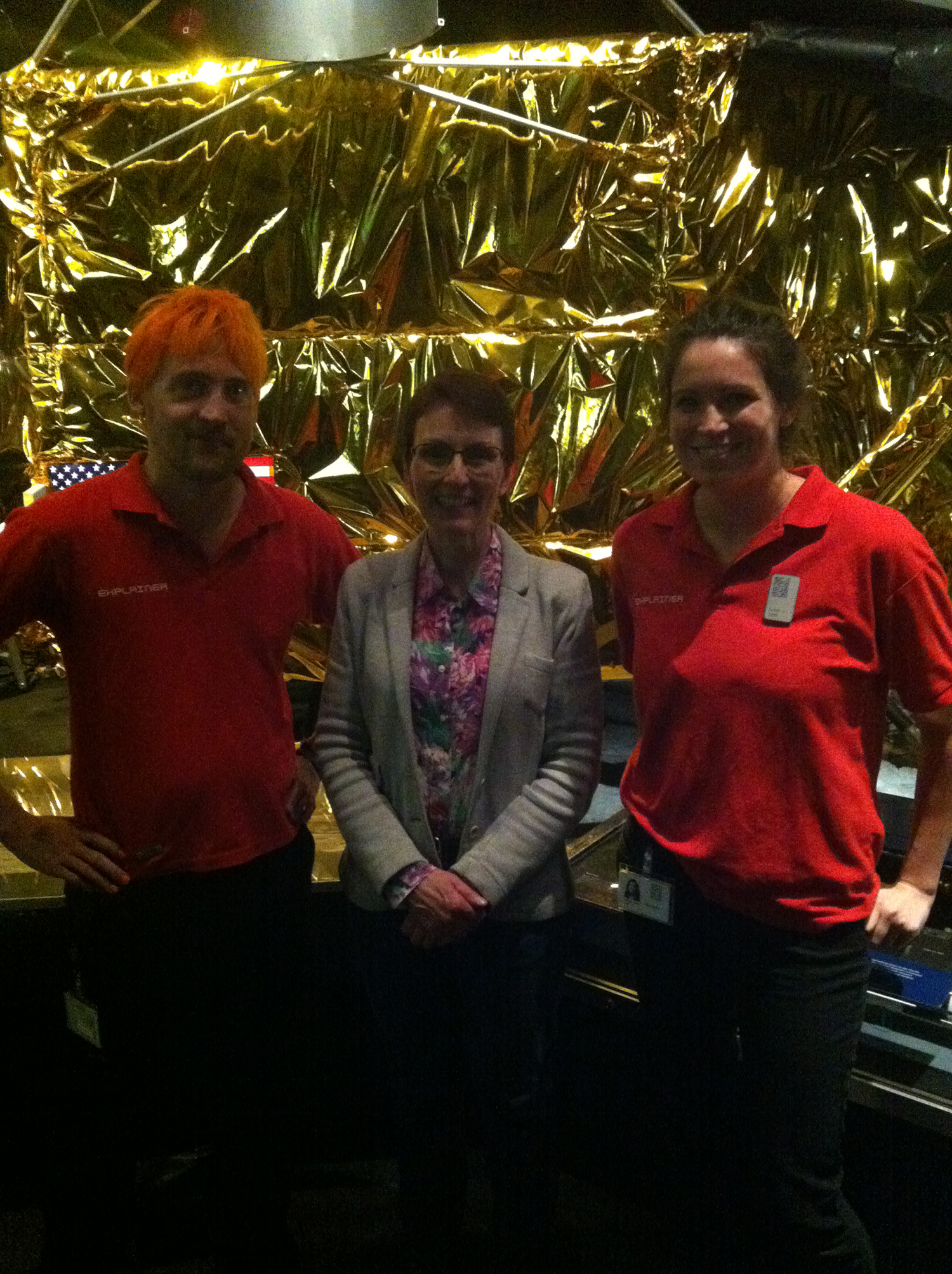 David and colleague Sarah-Jane, meeting Britain's first Astronaut Helen Sharman during Tim Peake's landing on the 19th June.