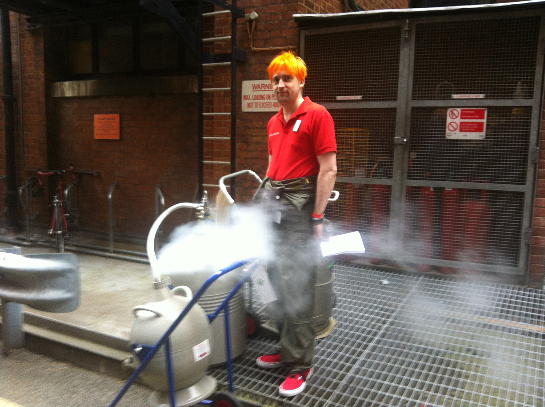 David Houston collecting liquid nitrogen