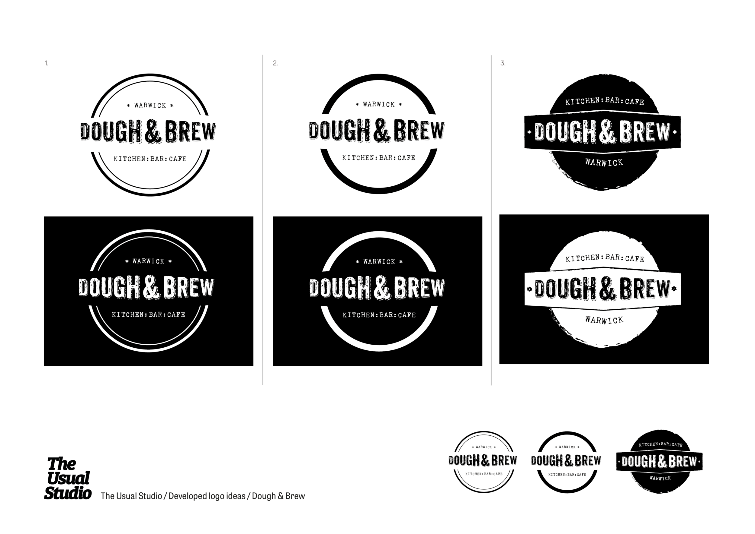 Developed ideas for the Dough & Brew identity