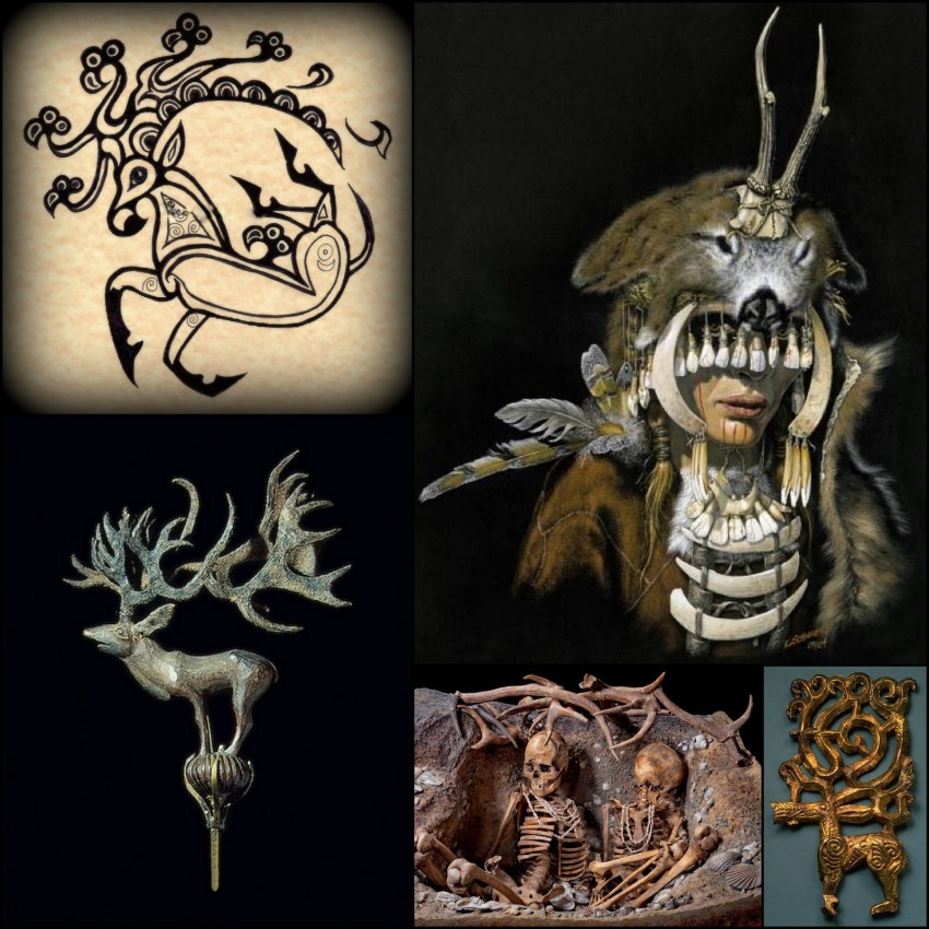 Top right to left: Siberian Deer Tattoo 2nd century BCE., Shamanic Headdress found in Düsseldorf Burial, Scythian Deer figurine, Mesolithic Burial of two women in France, Scythian Rod, Iron Age