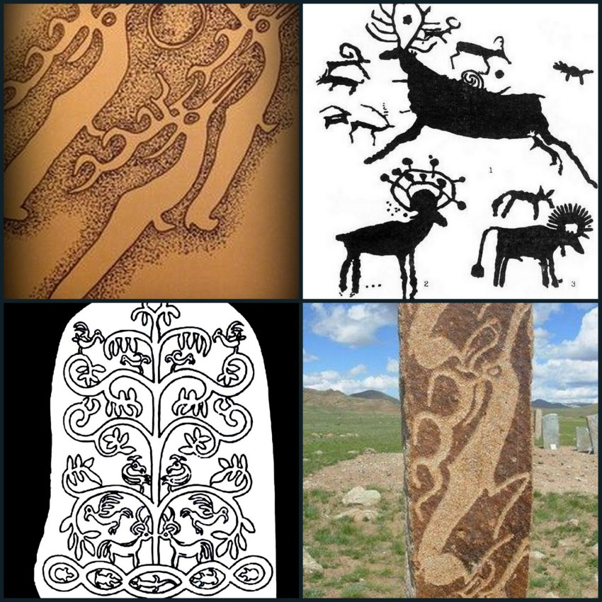 Deer Stones Image Source Wikipedia. Upper Left Image: Pen and Ink Sketch of Mongolian Deer Stone by Penny Sinclair, Scottish Narratives.