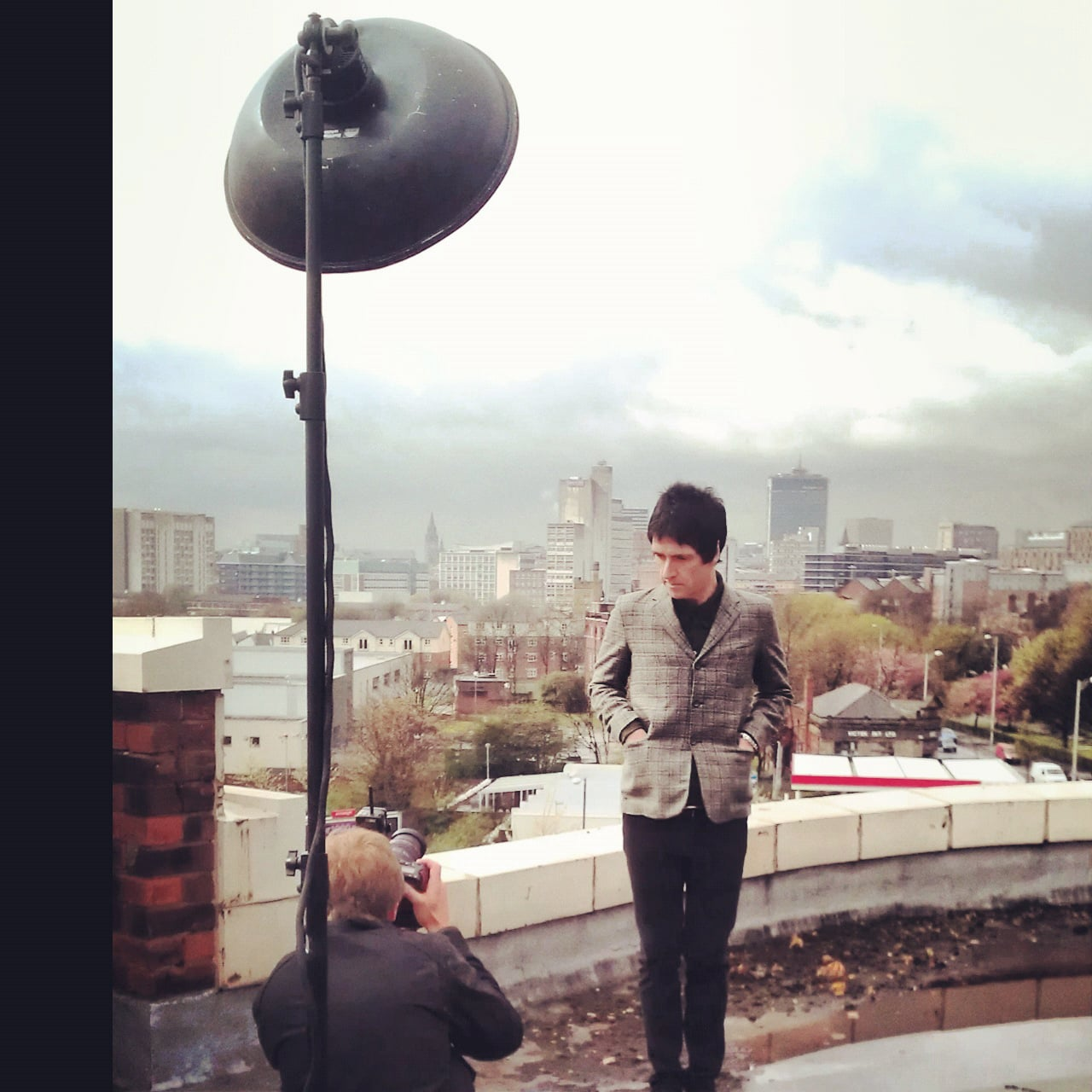 Me on a recent shoot with Johnny Marr   (Roof of apollo theatre)