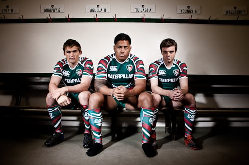 Toby Flood, Manusamoa Tuiliagi, George Ford, on a shoot with Leicester Tigers.