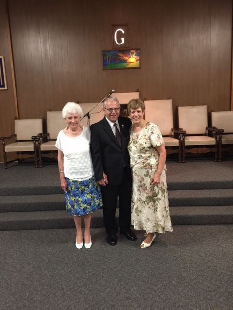 Worshipful Gary Miller with wife Kathy (right) and his mother in law Marguerite.