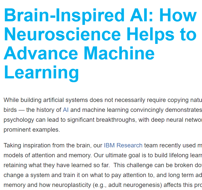 IBM: How Neuroscience Helps to Advance Machine Learning
