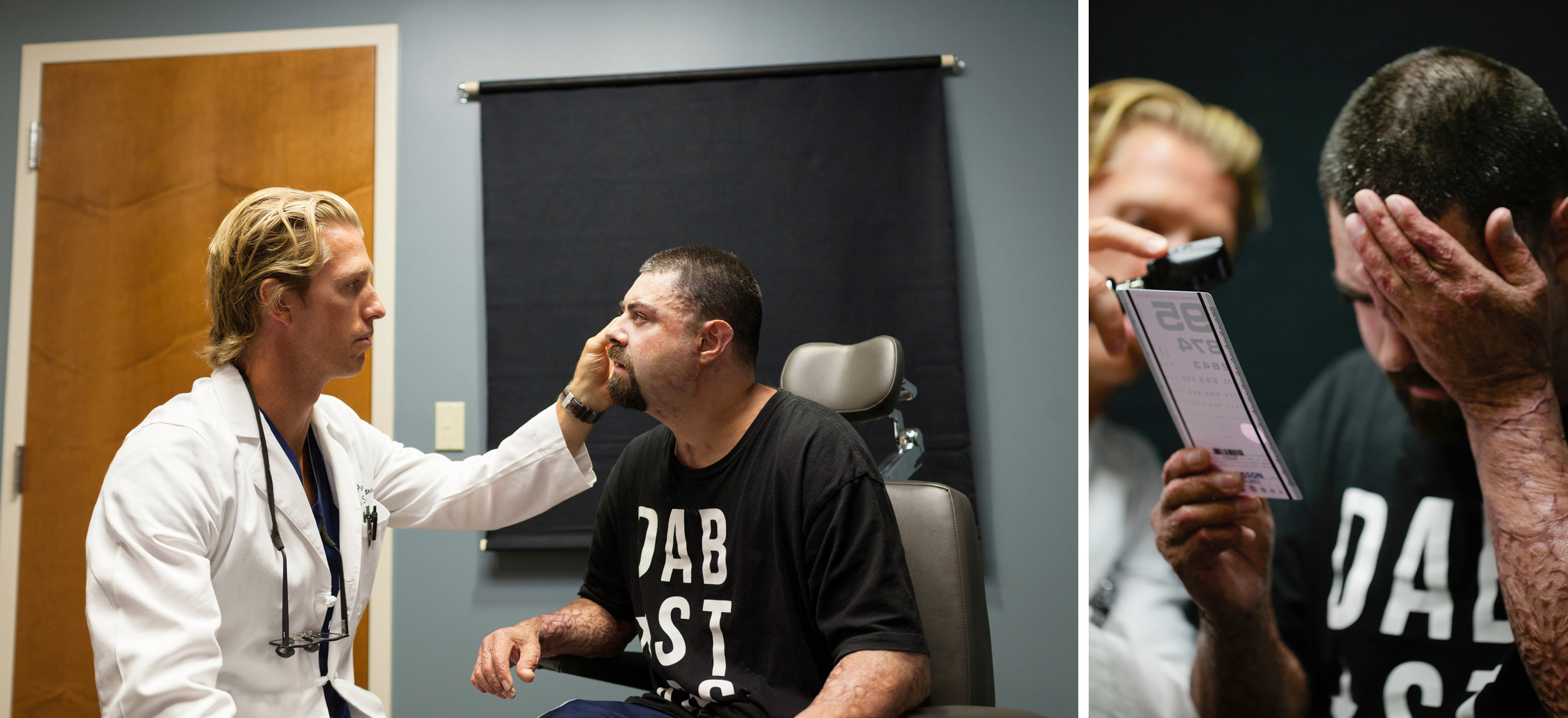 Joshua undergoes an eye exam. ©Kristen Angelo