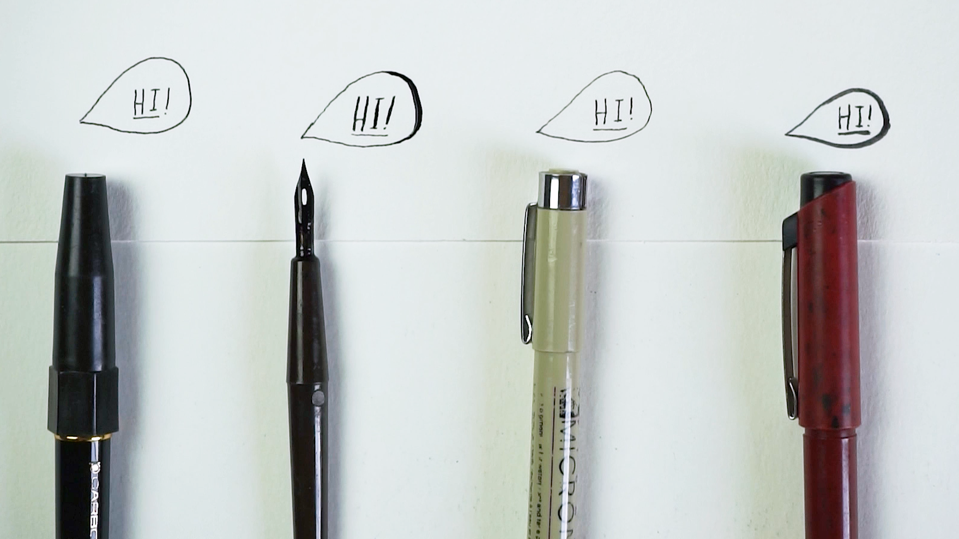 Four favorite black pens of all time - Platinum Carbon Fountain Pen (fine), Nib, Micron 01, Sakura Pocket Brush no. 14 (hard)