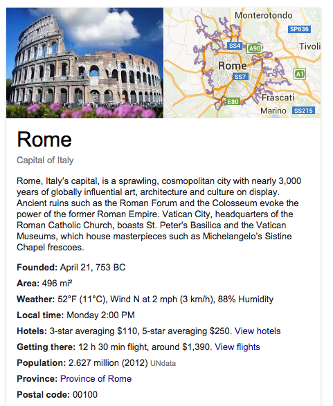 Click the image above Click here for Google's search results for travel to Rome Italy. The search results provide thousands of pages, images and links for travel.