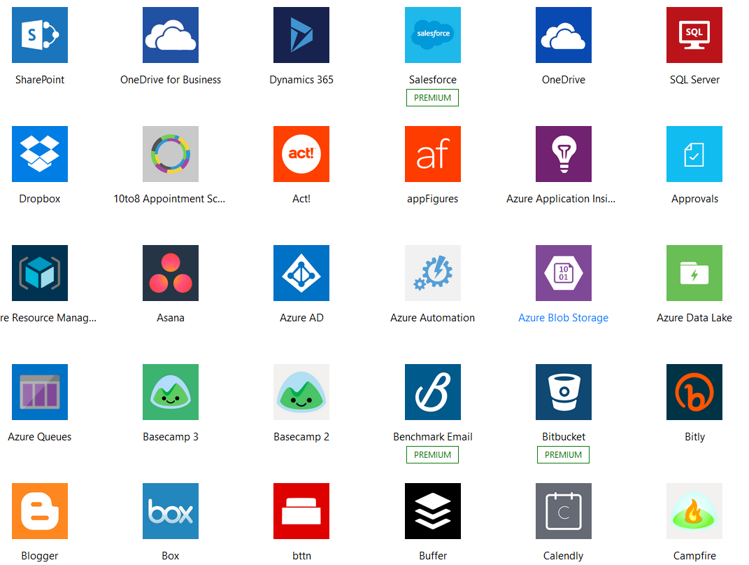 A sample of the apps you can connect together using Microsoft Flow.