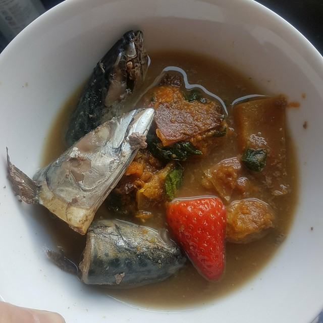 Hot mackerel (raw inside) on a different homemade vegetable and fruit mix