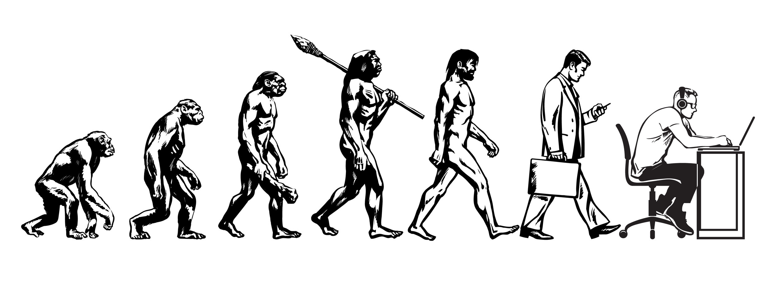 We've come a long way since being bent over apes, haven't we?