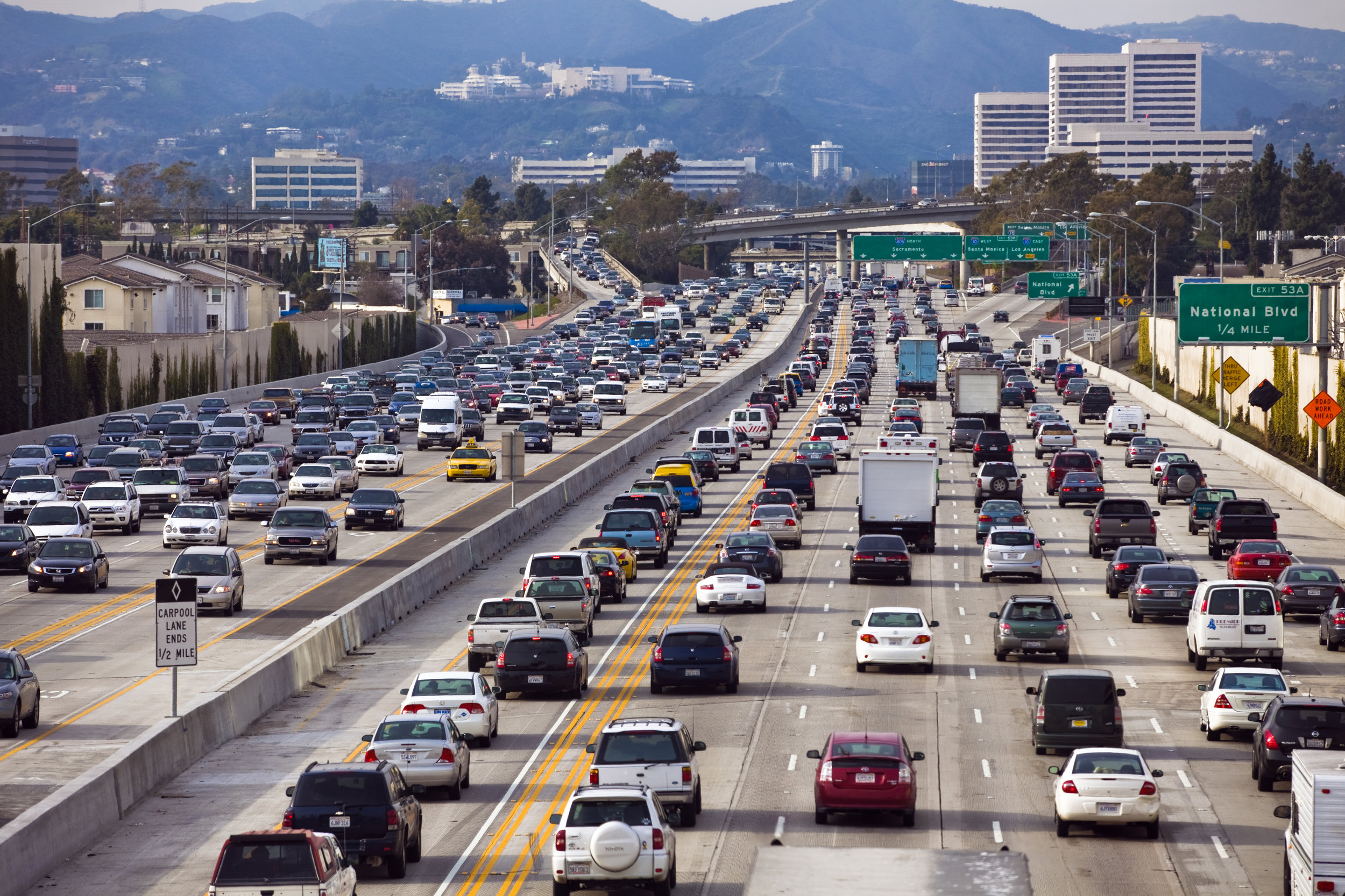 Typical traffic on the 405 in L.A., the country's busiest freeway. More than 375,000 cars per day  on average  in some stretches of this road through Los Angeles and Orange Counties.