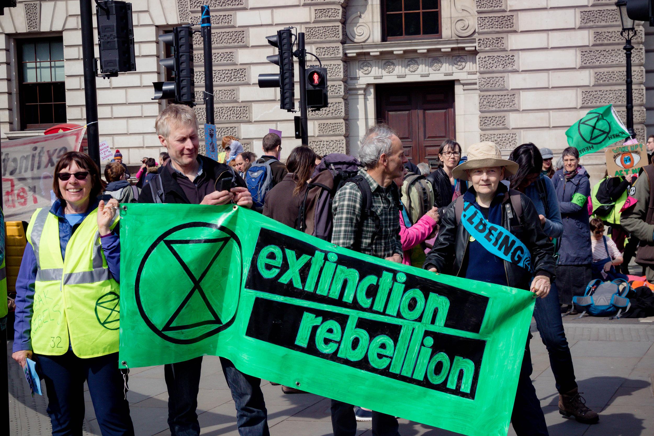 Demonstrators outside UK Parliament, April 15, 2019. Credit: Shutterstock.com