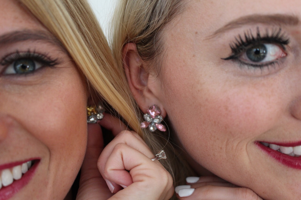 Jessica and I modeling our beautiful DIY earrings!