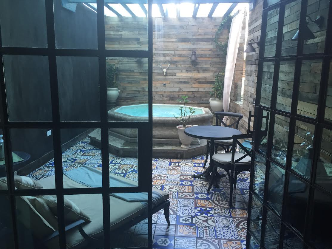 Our private patio/shower at the O:live Boutique Hotel