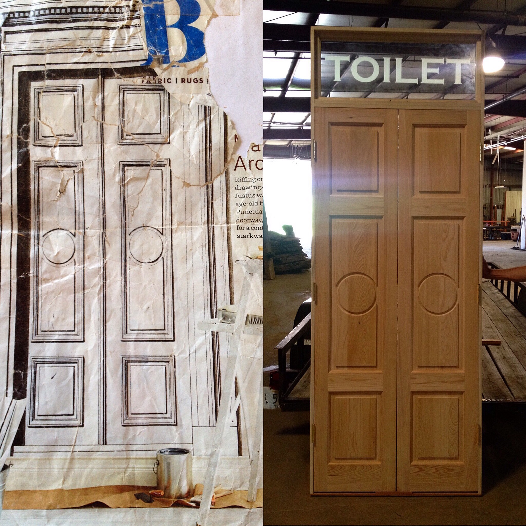 Someone asked us to build a cypress door (picture to the right)  to match the sketch on the left but add a transom and include the piece of etched glass you see above the doors.