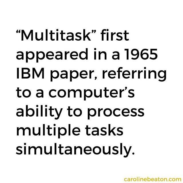 """The word multitasking was initially a computer word, not a human word.⠀ ⠀ The U.S. Chamber of Commerce reports that multitasking is rewiring our brains, enabling """"multiple tasks to be processed in more rapid succession."""" As our brains adapt to task management, we lose """"our ability to think deeply and creatively,"""" Nicholas Carr writes in The Shallows. The better we get at multitasking, the worse we get at creative problem solving. Summing the research, Carr explains that multitaskers are """"more likely to rely on conventional ideas and solutions rather than challenging them with original lines of thought.""""⠀ ⠀ How can we both stay creative and maintain this level of (perceived) productivity? Find out at the link in my bio."""