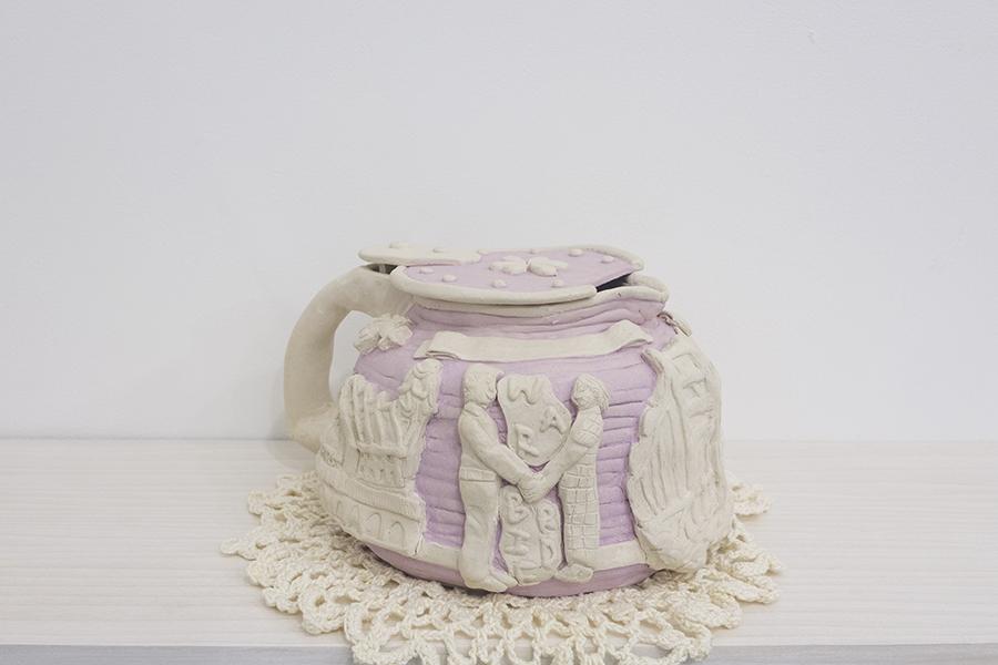 coffee pot / Roena Chan (1919-1978), 2018  Glazed stoneware, mercerized cotton thread, epoxy, nail polish