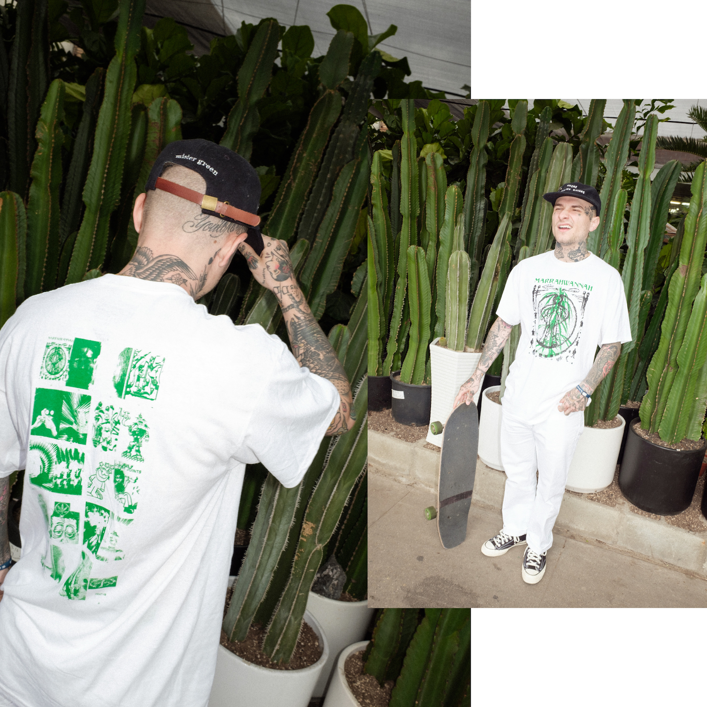 Smoke Mother Nature Cap, Mister Green x PRMTVO MARRAHWANNAH tee, Green Dickies, Cactus Plant Flea Market bracelet,Converse