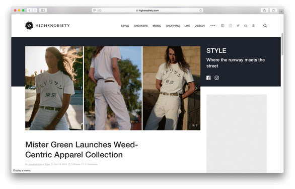 High Snobiety - Mister Green Launches Weed-Centric Apparel Collection