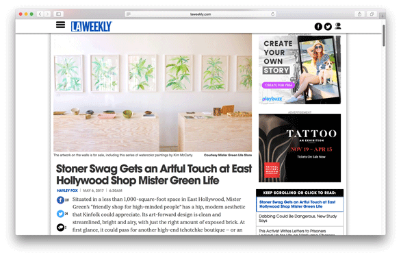LA Weekly - Stoner Swag Gets an Artful Touch at East Hollywood Shop Mister Green Life