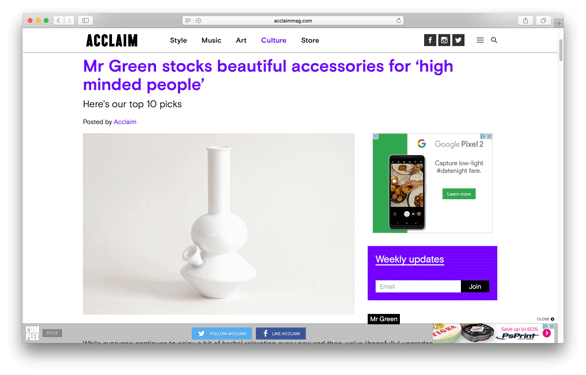 Acclaim Magazine - Mister Green Stocks Beautiful Accessories for High Minded People