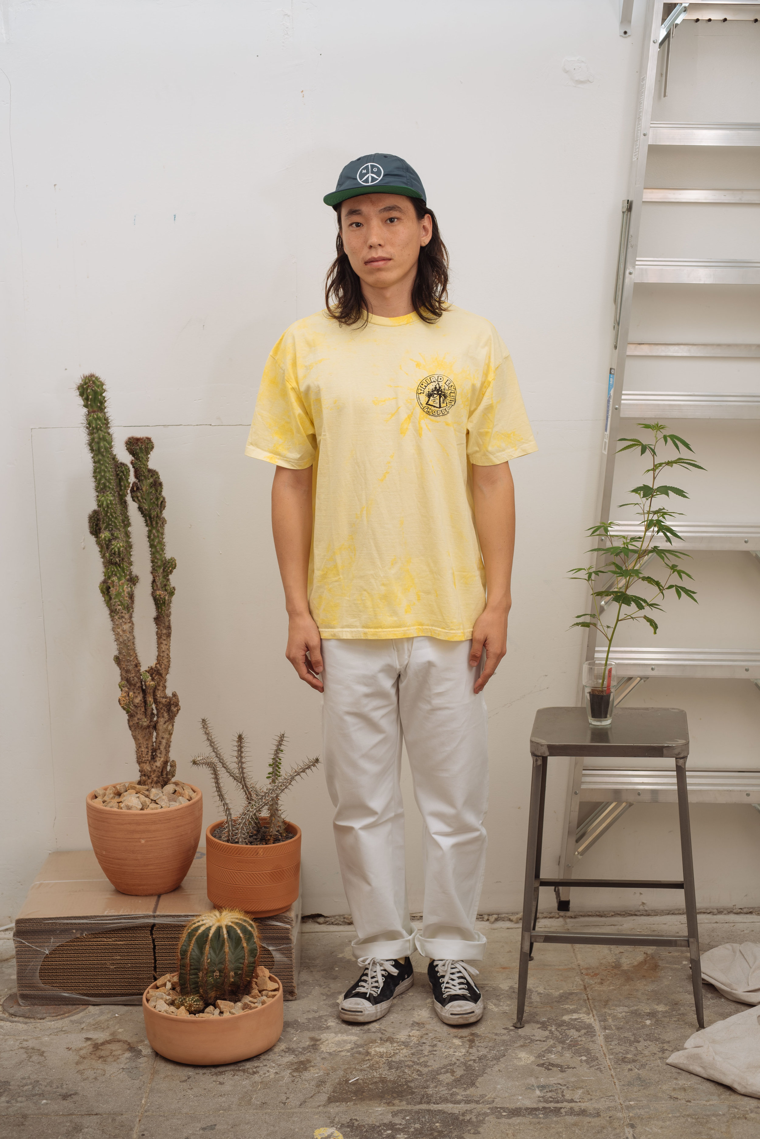 Satin Peace Logo Cap - Navy   3rd Eye Tee - Yellow Tie Dye   Green Dickies - White