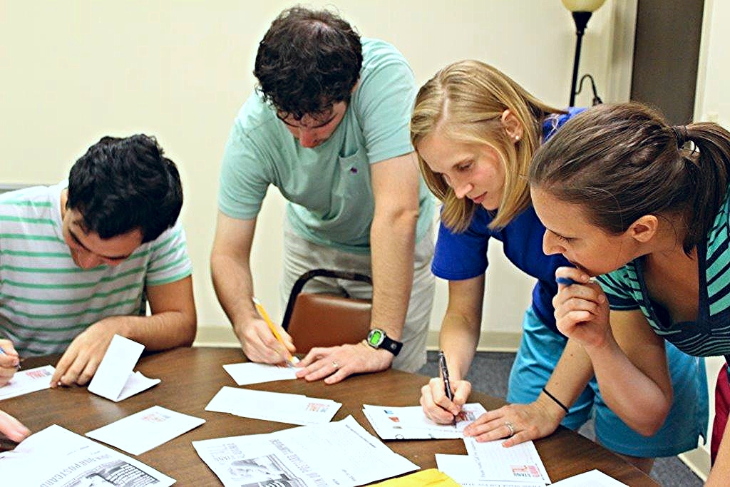 UAB pediatric residents write postcards to legislators advocating for adequate Medicaid funding in the 2015 Stand Tall Campaign, co-sponsored by the Chapter.