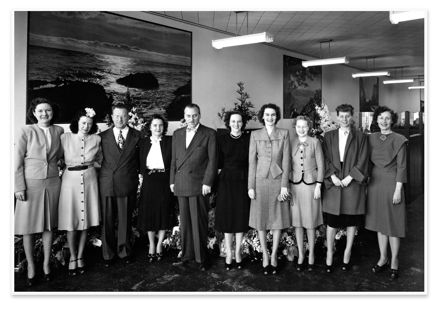 The original staff at the Wilshire Escrow offices.