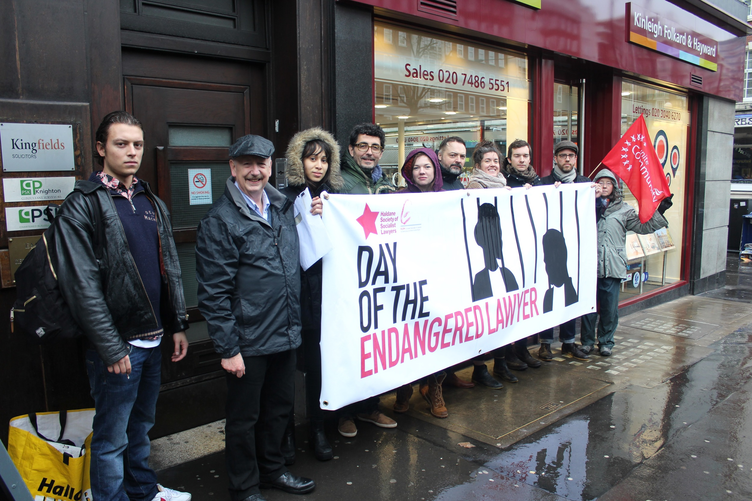 Members of the Haldane Society of Socialist Lawyers and other campaigners attend outside the Honduran Embassy in London.