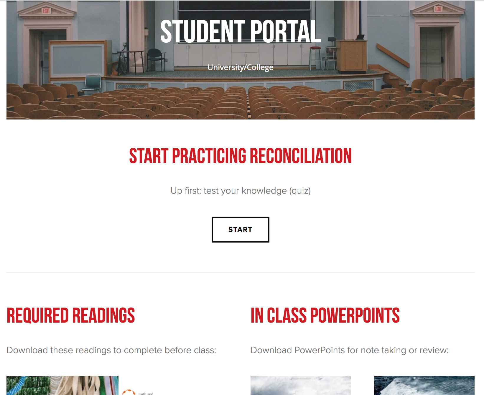 Student Portal - Students will access the online portal to complete the pre-unit quiz. Within their portal they will also find the required readings for the unit, powerpoints and a video playlist. Once complete they will take a final post-unit quiz which may be graded for the instructor use.