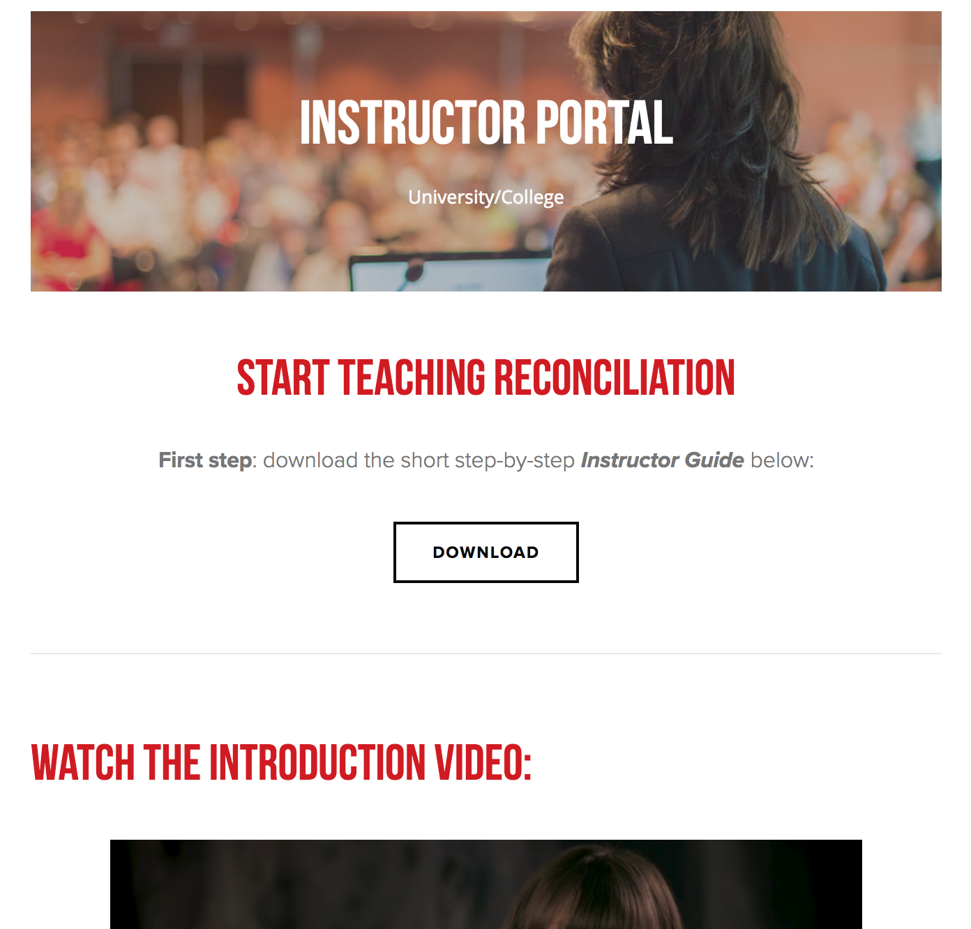 Instructor Portal - Instructors will have access to their own online Portal filled with all the unit materials such as the unit Guide, powerpoints, links to the film and multimedia. There they will also find additional learning materials for both themselves and their students in the form of videos and external links.