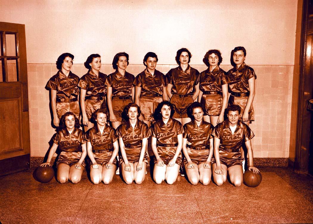 1956-12-03 Women's Basketball Team 2 - source archives - neg.JPG
