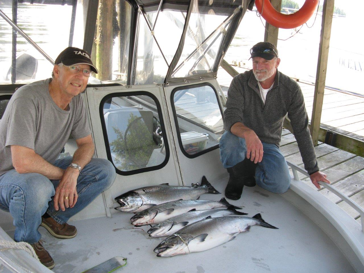 Chris and Jon with a limit of Chinook in Pender Harbour, BC