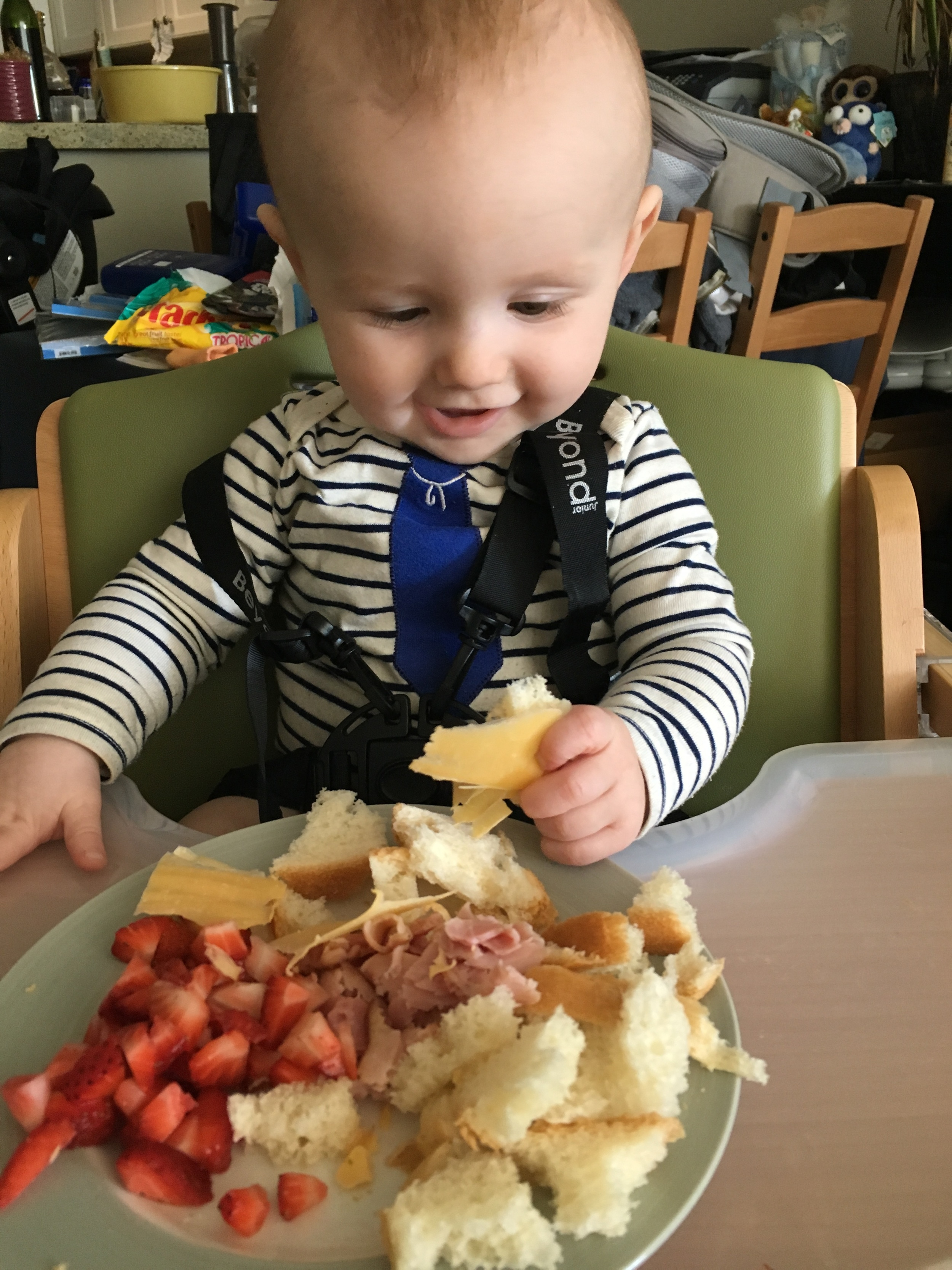Look at how excited this baby is about food. He is definitely going to be a foodie like his mama!