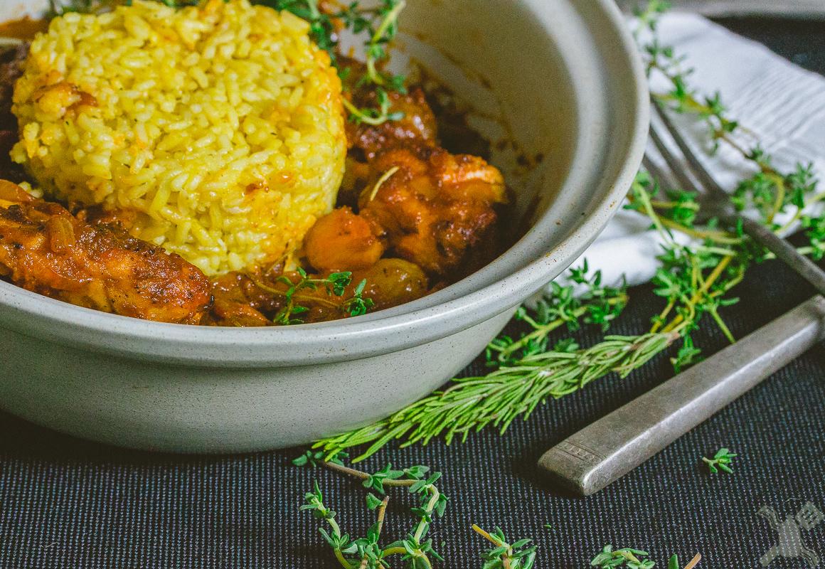 Coq Au Vin with Saffron rice