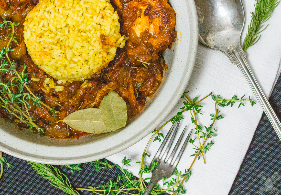 Coq Au Vin with Saffron rice, so many herbs, so much tasty things in this one dish!